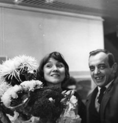 Vessa Vasileva and Nikolay Nikov-Nicheto at the opening of the solo exhibition of Sofia, 1964